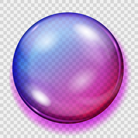 Big transparent purple sphere with shadow
