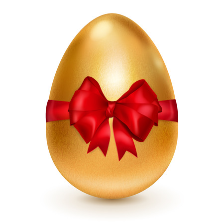 golden egg: Realistic golden Easter egg tied of red ribbon with a big red bow. Easter egg with shadow on white background