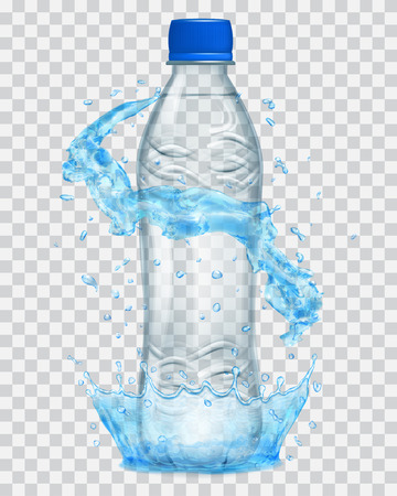 Transparent water crown and water splashes in light blue colors around a gray transparent plastic bottle with blue cap, filled with mineral water. Transparency only in vector file Illustration