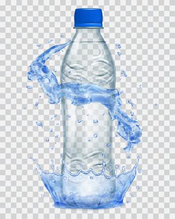 Couronne d'eau transparente et éclaboussures d'eau en couleurs bleues autour d'une bouteille en plastique transparent et gris avec bouchon bleu, rempli d'eau minérale. Transparence uniquement dans le fichier vectoriel Banque d'images - 76755191