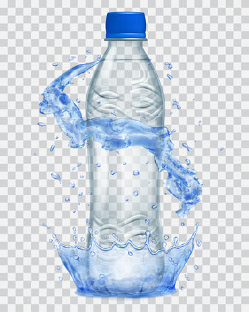 Transparent water crown and water splashes in blue colors around a gray transparent plastic bottle with blue cap, filled with mineral water. Transparency only in vector file