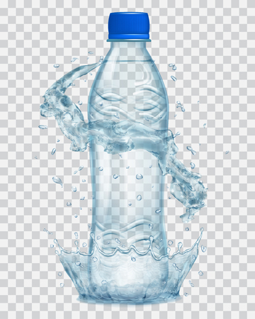 Transparent water crown and water splashes in gray colors around a gray transparent plastic bottle with blue cap, filled with mineral water. Transparency only in vector file