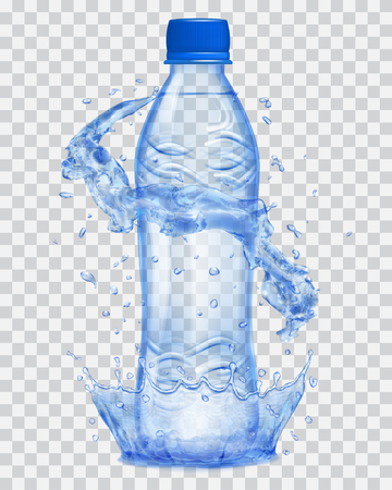 Transparent water crown and water splashes in blue colors around a blue transparent plastic bottle with blue cap, filled with mineral water. Transparency only in vector file