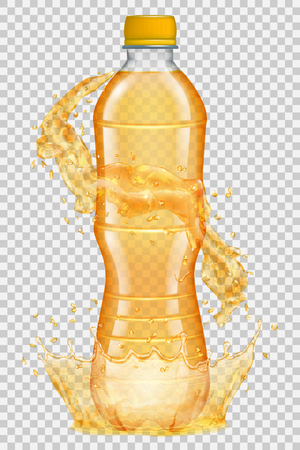 Transparent water crown and splashes in orange colors around a plastic bottle with orange cap, filled with juice. Transparency only in vector file