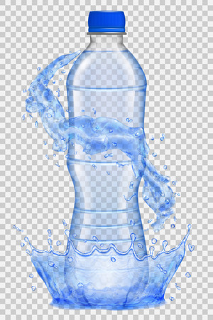 Transparent water crown and splashes in blue colors around a plastic bottle with blue cap, filled with mineral water. Transparency only in vector file Illustration