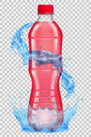 semitransparent: Transparent water crown and splashes in light blue colors around a plastic bottle with red cap, filled with red juice. Transparency only in vector file Illustration