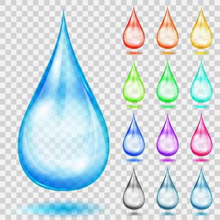 translucent red: Set of translucent multicolored drops with shadows, isolated on transparent background. Transparency only in vector format