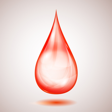 One big transparent red drop with shadow