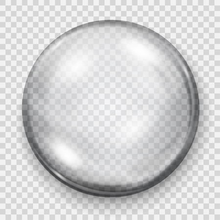 Big transparent gray sphere with shadow on transparent background. Transparency only in vector file Stock Illustratie