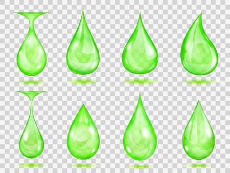 Set of transparent drops in green colors. Transparency only in vector format