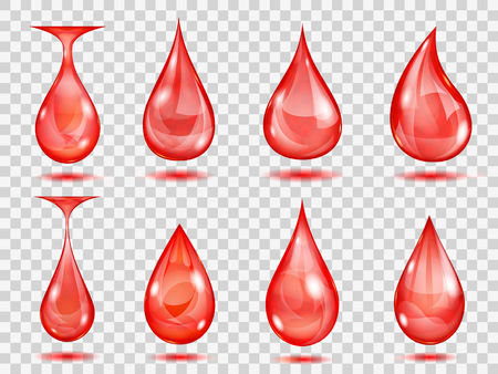 leaking: Set of transparent drops in red colors. Transparency only in vector format