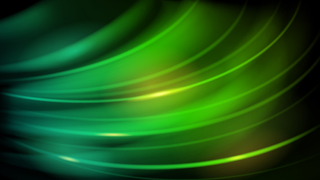 Abstract background of curved lines with glares in green color