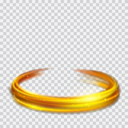 Glowing fire rings with glitter in gold colors on transparent background. Light effects. For used on light backgrounds. Transparency only in vector format Ilustração