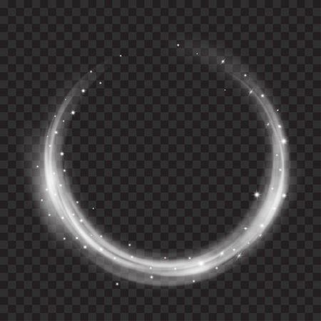 Glowing fire rings with glitter in gray colors on transparent background. Light effects. For used on dark backgrounds. Transparency only in vector format Vectores