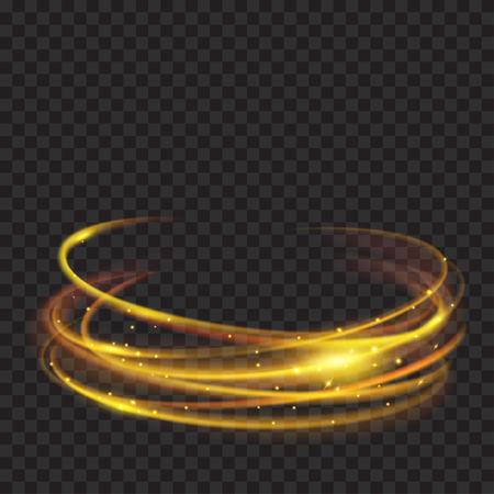 Glowing fire rings with glitter in gold colors on transparent background. Light effects. For used on dark backgrounds. Transparency only in vector format