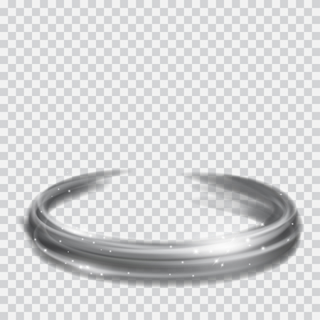 light traces: Glowing fire rings with glitter in gray colors on transparent background. Light effects. For used on light backgrounds. Transparency only in vector format