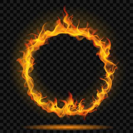 Pierścień ognia płomień na przezroczystym tle. Do użytku na ciemnym tle. Przejrzystość tylko w formacie wektorowym