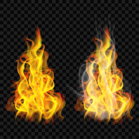 Fire flame with smoke and without on transparent background. For used on dark backgrounds. Transparency only in vector format Illustration