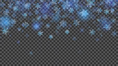 Kerstmisachtergrond van doorzichtige dalende sneeuwvlokken in lichtblauwe kleuren op transparante achtergrond. Transparantie alleen in vectorbestand
