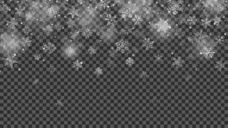 Kerstmisachtergrond van doorzichtige dalende sneeuwvlokken in witte kleuren op transparante achtergrond. Transparantie alleen in vectorbestand Stock Illustratie
