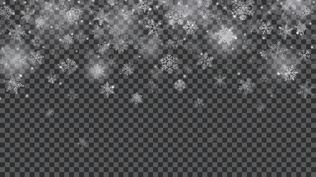 Christmas background of translucent falling snowflakes in white colors on transparent background. Transparency only in vector file