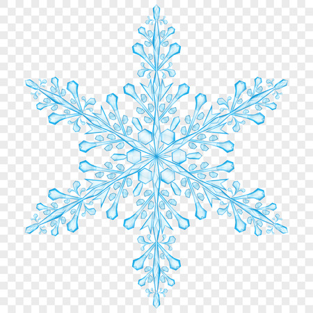 Big translucent Christmas snowflake in light blue colors on transparent background.  Transparency only in vector file Illustration
