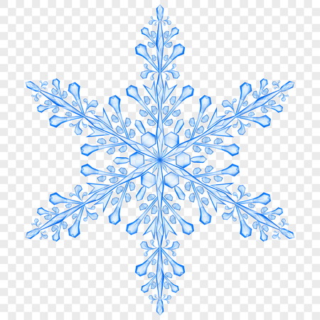 Big translucent Christmas snowflake in blue colors on transparent background.  Transparency only in vector file
