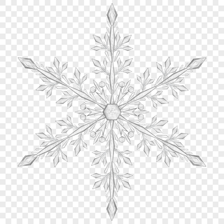 Big translucent Christmas snowflake in gray colors on transparent background.  Transparency only in vector file Stok Fotoğraf - 83088218
