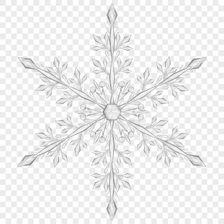 Grote doorschijnende kerst sneeuwvlok in grijze kleuren op transparante achtergrond. Alleen transparantie in vectorbestand