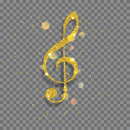 Big shiny treble clef made of golden glitters with sparkles and glares Illustration