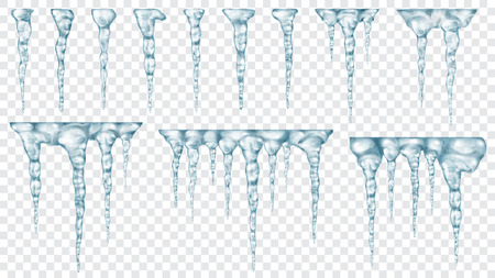 Set of translucent light blue icicles on transparent background. Transparency only in vector file