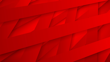 Abstract background of interwoven red stripes with shadows