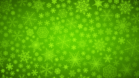 Christmas background of big and small snowflakes, white on green