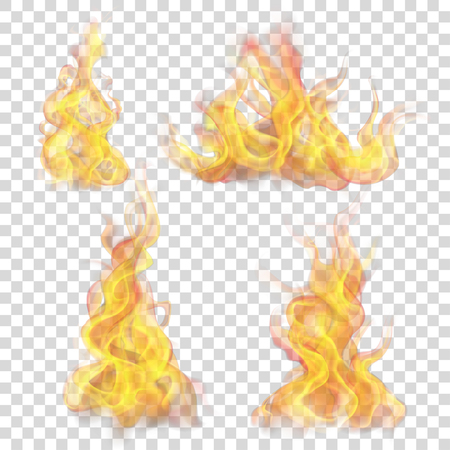 Zestaw płomień ognia na przezroczystym tle. Do użytku na jasnym tle. Przejrzystość tylko w formacie wektorowym