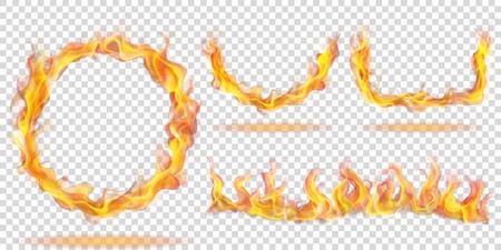 반지, 호 및 투명 배경에 파도의 형태로 화재 불길의 집합입니다. 밝은 배경에 사용. 벡터 형식의 투명성