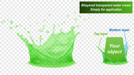 Translucent water splash crown consist of two layers: top and bottom. In green colors, isolated on transparent background. Transparency only in vector file Illustration