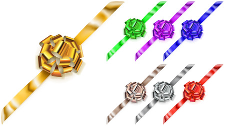 Set of corner beautiful big bows made of colored shiny ribbons with shadows on white background
