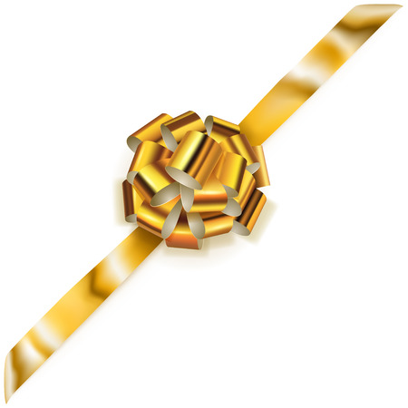Beautiful big corner bow made of golden shiny ribbon with shadow on white background