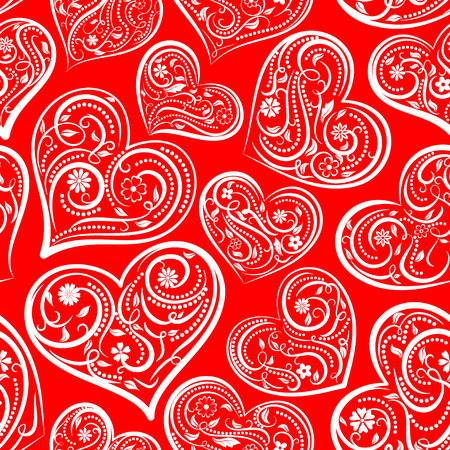 Seamless pattern of big hearts with ornament of curls, flowers and leaves, white on red.