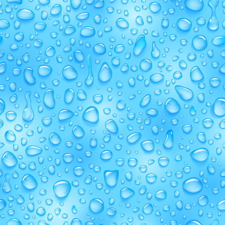 Seamless pattern of water drops of different shapes with shadows in light blue colors