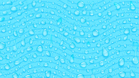 Background of waves and water drops of different shapes with shadows in light blue colors