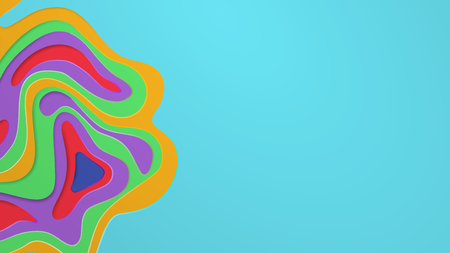 Multi layers vector background with abstract topography or flowing liquid design, colored on light blue