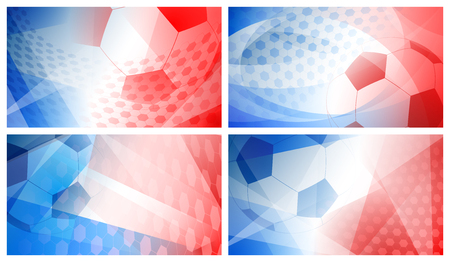 Set of four football or soccer abstract backgrounds with big ball in national colors of France