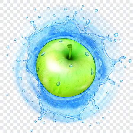 Green apple falling into transparent light blue water with translucent splash. Transparency only in vector format