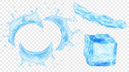 Set of translucent semicircular water splashes with drops, jet of liquid and ice cube in light blue colors, isolated on transparent background. Transparency only in vector format