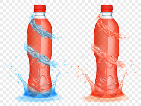 Two translucent plastic bottles filled with red juice, with light blue water crowns and splashes, isolated on transparent background. Transparency only in vector format