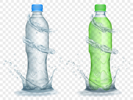 Two translucent plastic bottles in gray and green colors with water crowns and splashes, isolated on transparent background. Transparency only in vector format Illustration