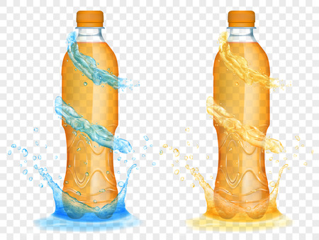 Two translucent plastic bottles filled with orange juice, with light blue water crowns and splashes, isolated on transparent background. Transparency only in vector format