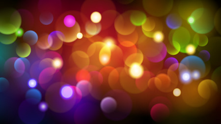 Abstract dark background with bokeh effects in various colors