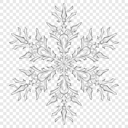Big translucent Christmas snowflake in gray colors on transparent background. Transparency only in vector format